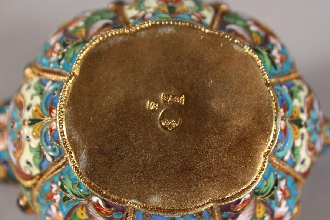 A VERY GOOD PAIR OF RUSSIAN SILVER AND ENAMEL KOVSH, - 4