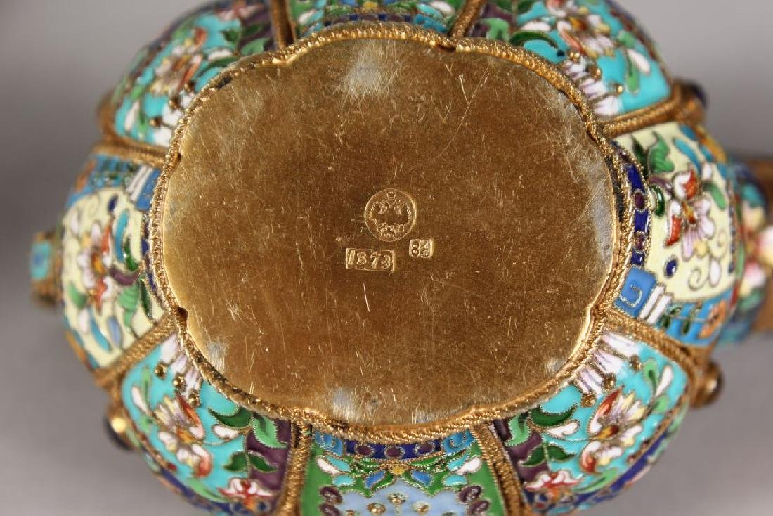 A VERY GOOD PAIR OF RUSSIAN SILVER AND ENAMEL KOVSH, - 5