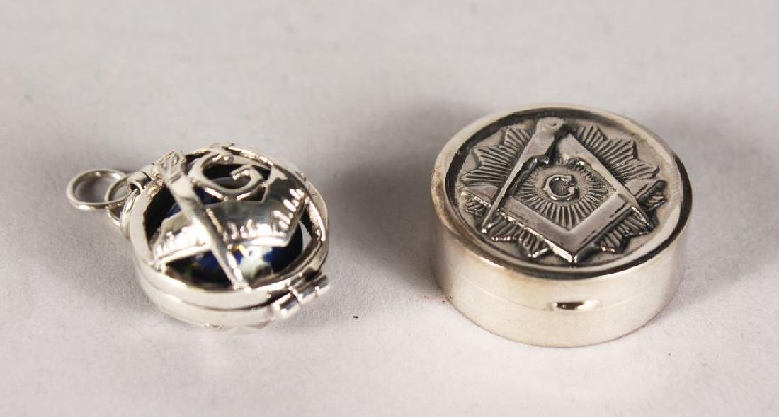 A SILVER MASONIC BOX AND FOB.