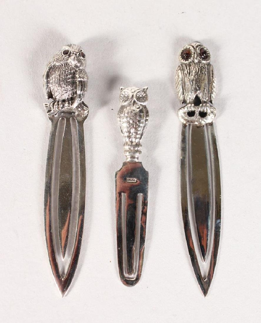 THREE SILVER OWL BOOK MARKS.