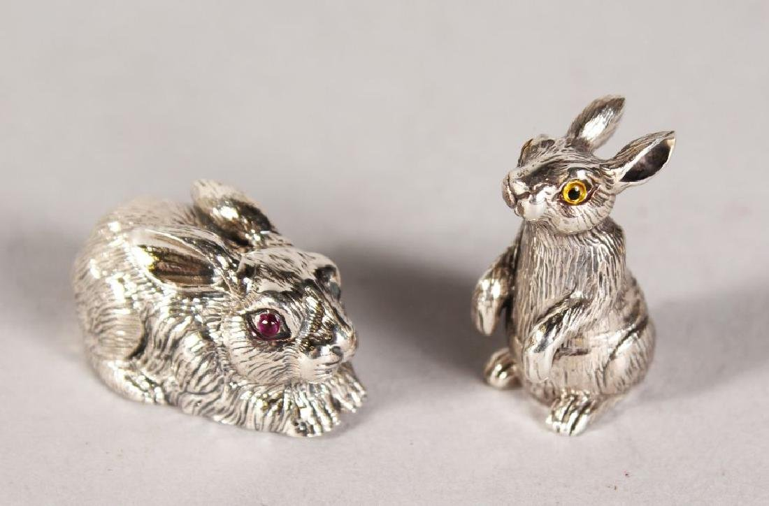 TWO MINIATURE SILVER NOVELTY RABBITS.