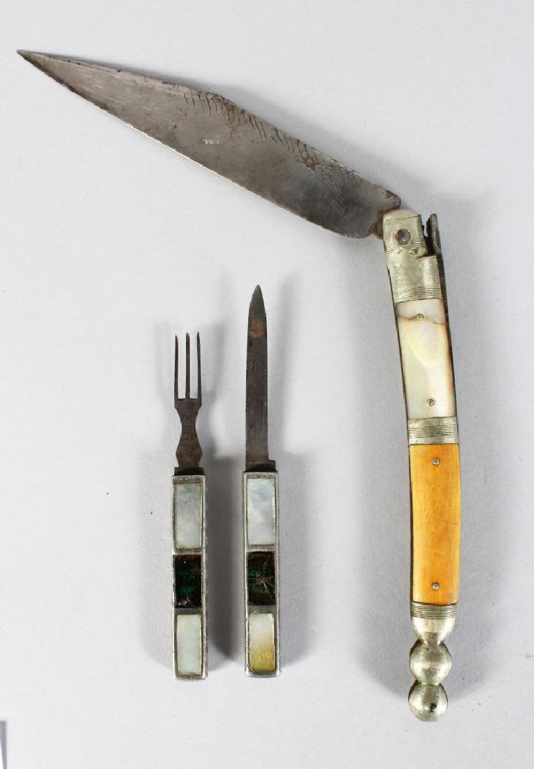 A SCOTTISH KNIFE AND FORK and FOLDING KNIFE (3).