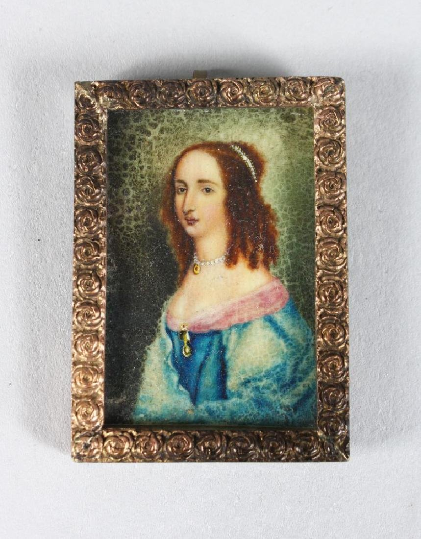 A SMALL FRAMED MINIATURE OF A LADY.  1.75ins x 1ins.