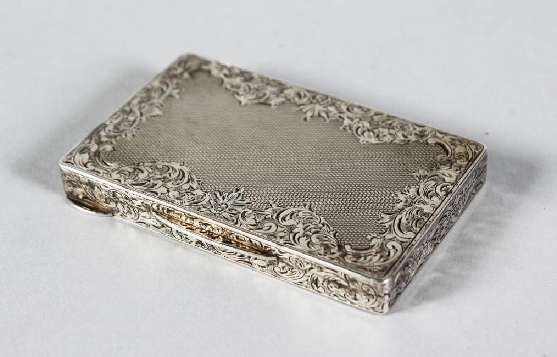 A FRENCH ENGRAVED ENGINE TURNED CARD CASE.  3ins x