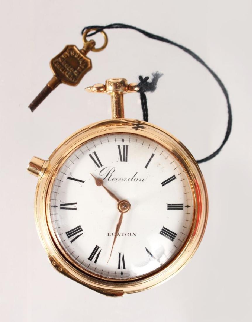 A SUPERB 18CT GOLD RECORDON, LONDON VERGE POCKET WATCH,