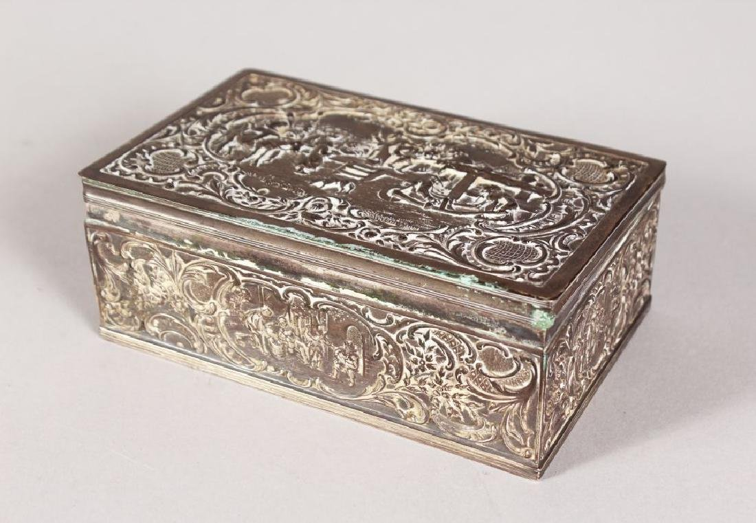 A RECTANGULAR SILVER DUTCH BOX with hinged lid.  5.5ins