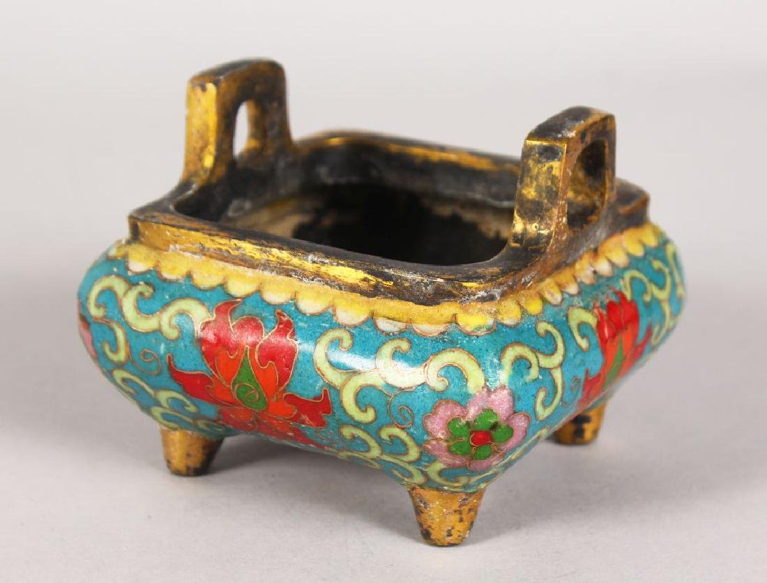 A CHINESE CLOISONNE ENAMEL TWO-HANDLED CENSER.  4ins