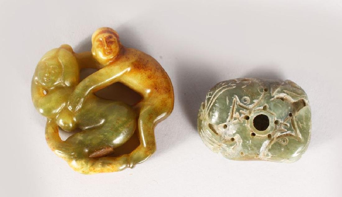 A CHINESE CARVED AND PIERCED EROTIC ROUNDEL AND INK POT