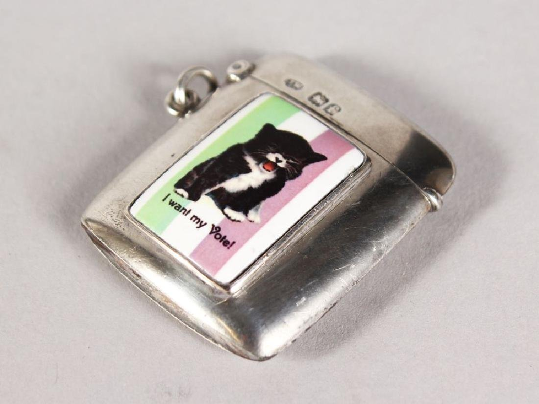 """A PLAIN EDWARD VII SILVER VESTA, with panel """"I Want My"""