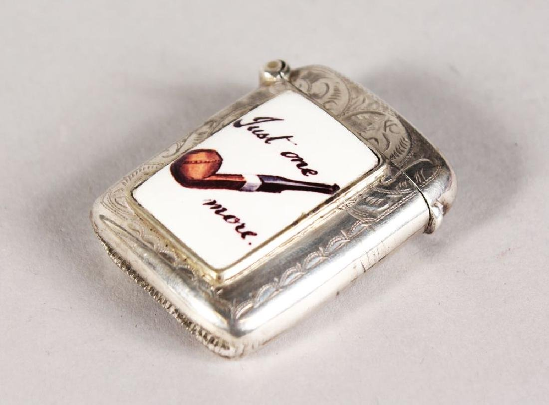 """AN ENGRAVED EDWARD VII SILVER VESTA, with panel """"Just"""