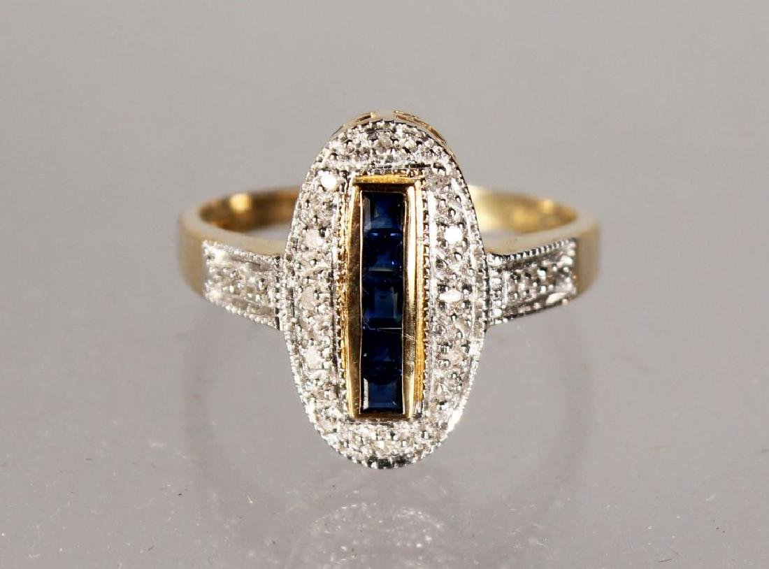 A 9CT GOLD ART DECO DESIGN SAPPHIRE AND DIAMOND RING.