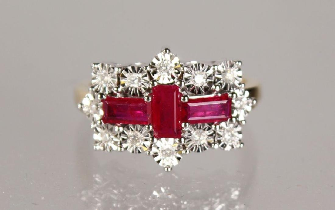 A 9CT GOLD, RUBY AND DIAMOND RING.
