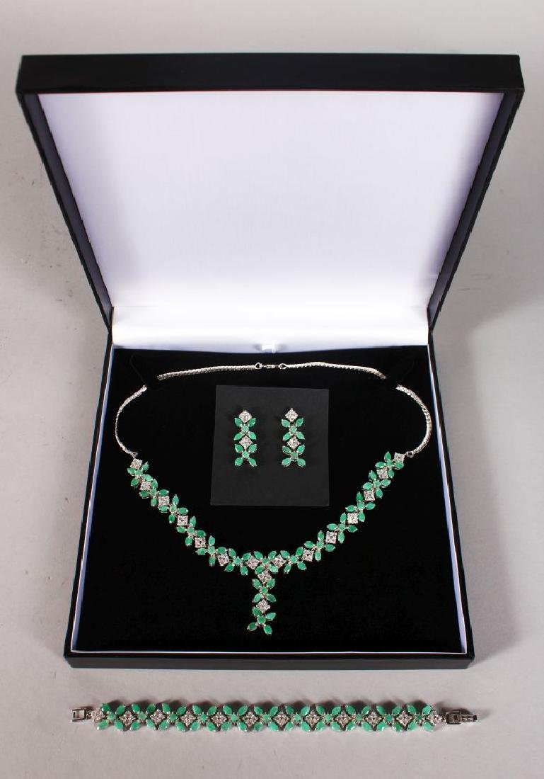 A GOOD SILVER ENAMELLED SET THREE PIECE, EARRINGS,