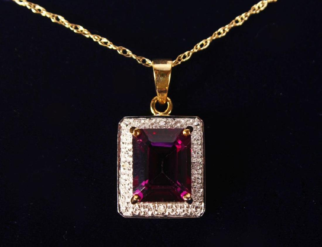 A 9CT GOLD, AMETHYST AND DIAMOND PENDANT AND CHAIN.
