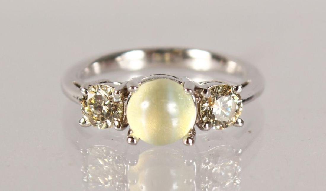 AN 18CT WHITE GOLD RING, set with a centre CHRYSOBERYL