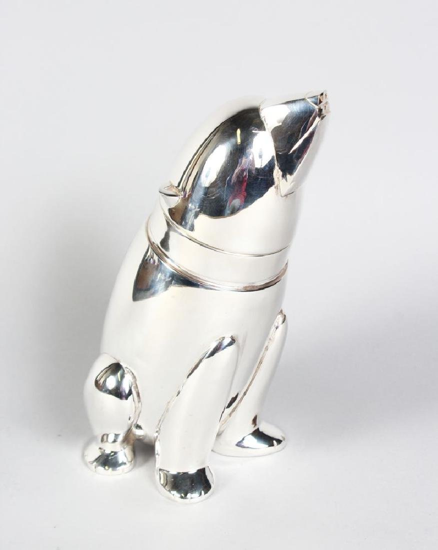 AN ART DECO DESIGN PLATED SEATED BEAR COCKTAIL SHAKER.