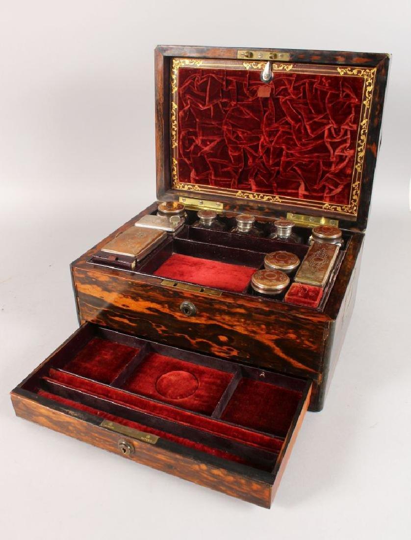 A VICTORIAN COROMANDEL VANITY BOX with inset brass