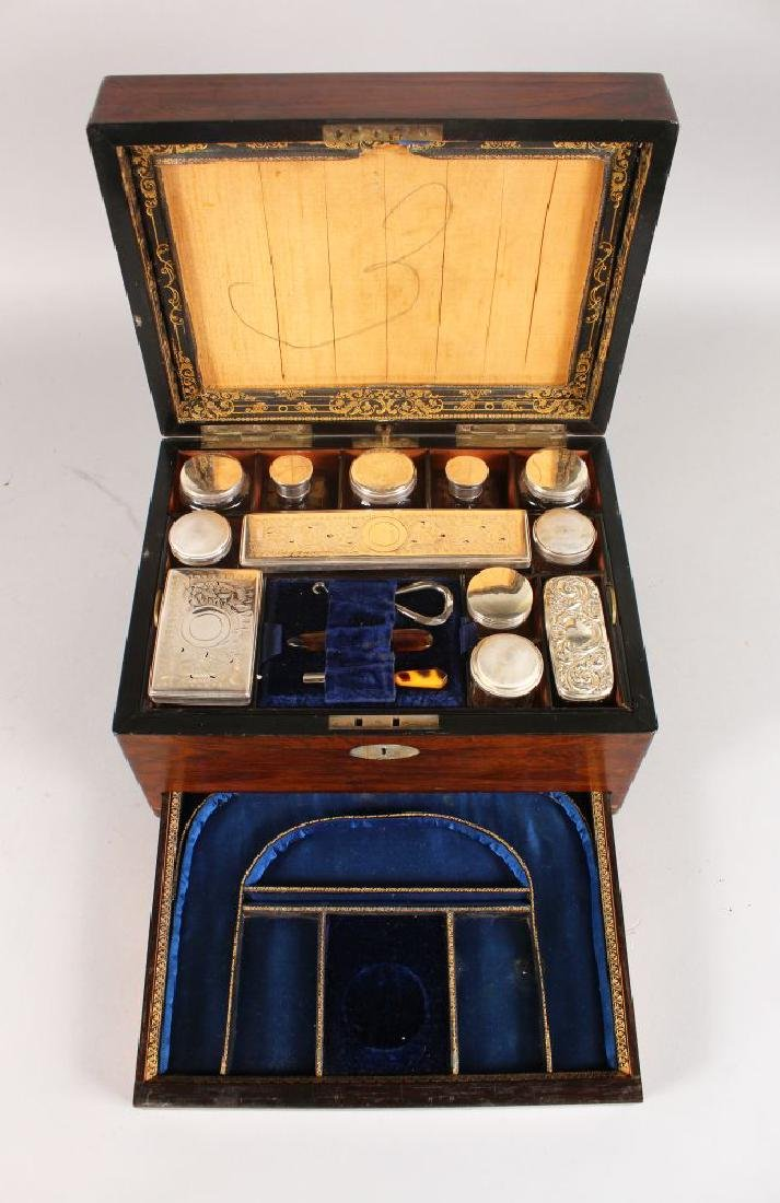 A VICTORIAN ROSEWOOD VANITY BOX with mother-of-pearl