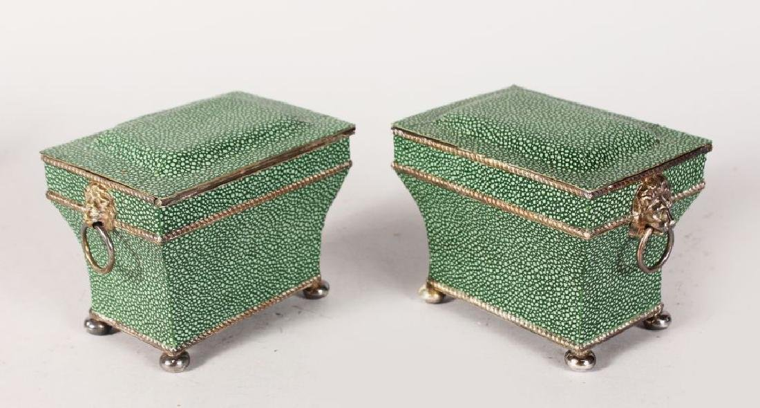 A PAIR OF GEORGIAN DESIGN PLATED SHAGREEN COVERED TEA