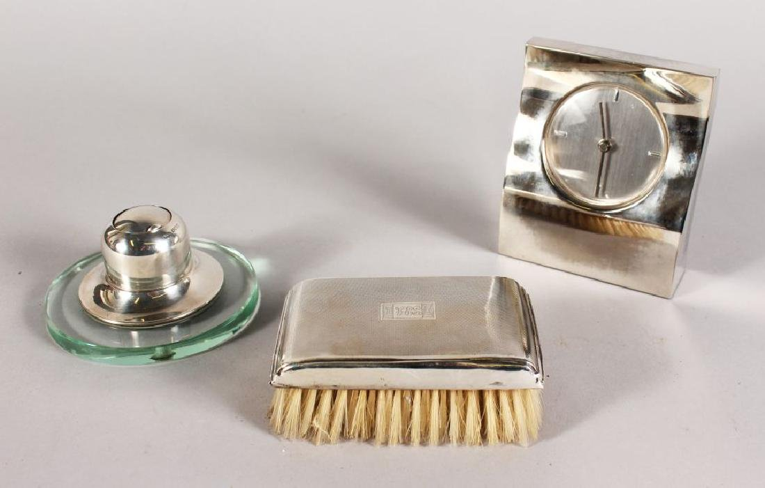 A SILVER BACKED HAIRBRUSH, SILVER INKPOT AND JASPER
