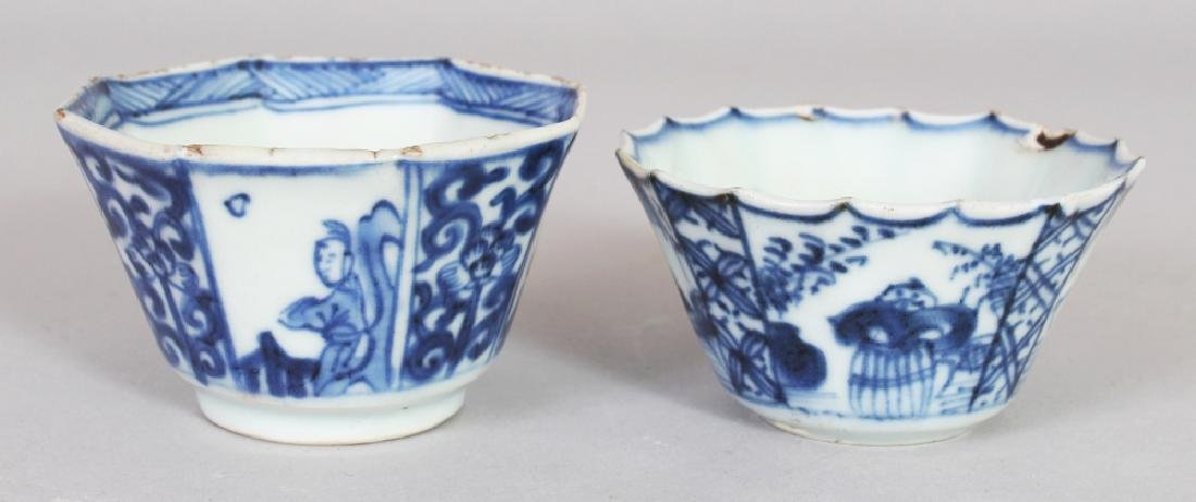 A CHINESE KANGXI PERIOD BLUE & WHITE OCTAGONAL