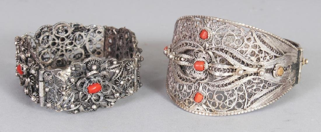 TWO 20TH CENTURY INDIAN SILVER-METAL FILIGREE
