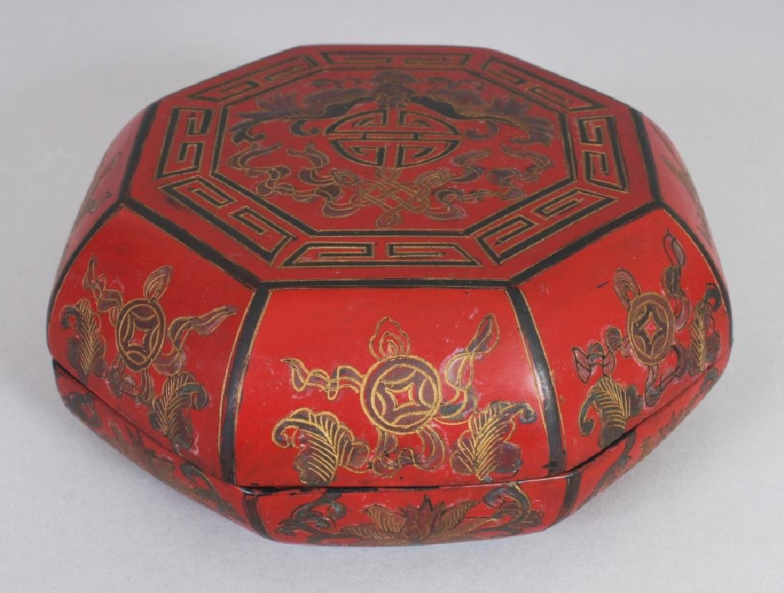 A 20TH CENTURY CHINESE MING STYLE OCTAGONAL LACQUER BOX