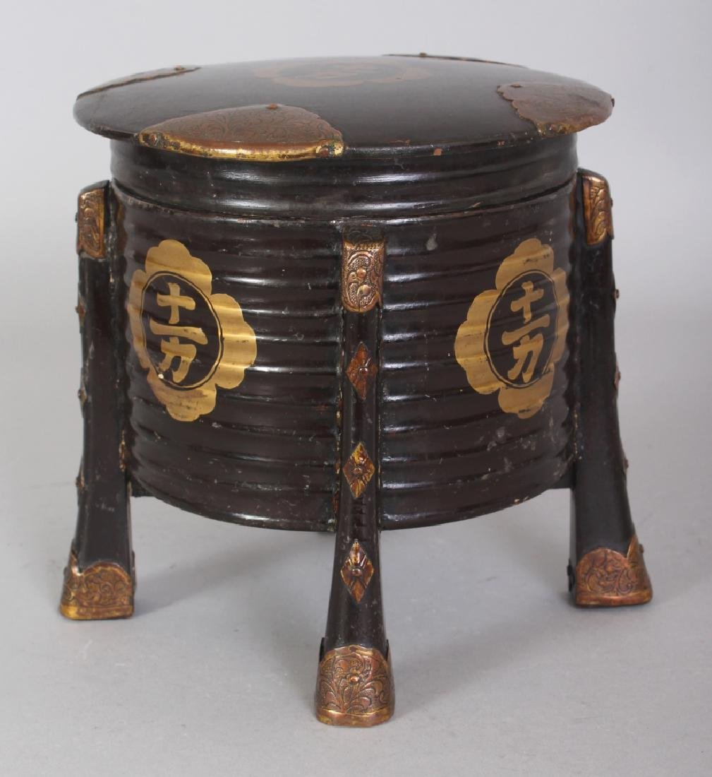 A JAPANESE MEIJI PERIOD LACQUER STORAGE BOX, with