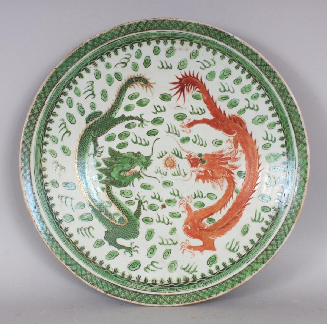 A 19TH/20TH CENTURY CHINESE CANTON GREEN & IRON-RED