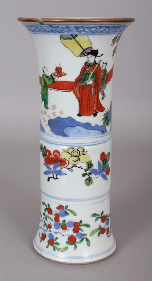 A GOOD CHINESE TRANSITIONAL STYLE PORCELAIN GU VASE,