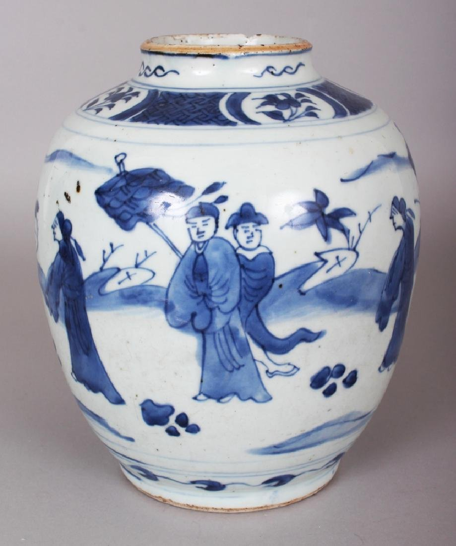 A CHINESE WANLI PERIOD BLUE & WHITE PORCELAIN JAR, the