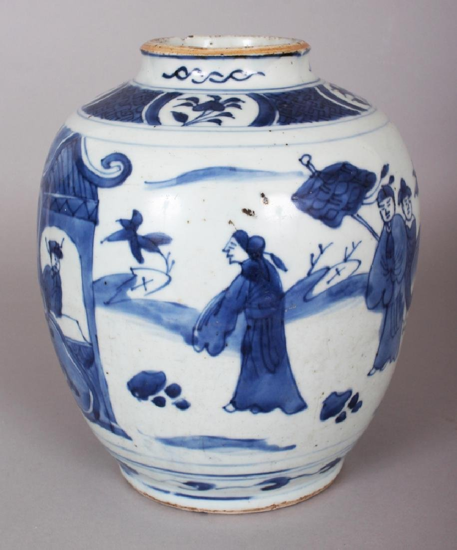 A CHINESE WANLI PERIOD BLUE & WHITE PORCELAIN JAR, the - 2