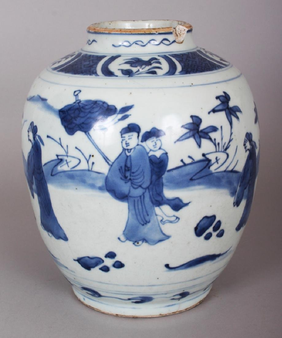 A CHINESE WANLI PERIOD BLUE & WHITE PORCELAIN JAR, the - 4