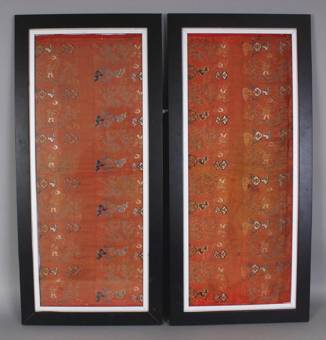 AN UNUSUAL PAIR OF 19TH CENTURY FRAMED CHINESE ORANGE