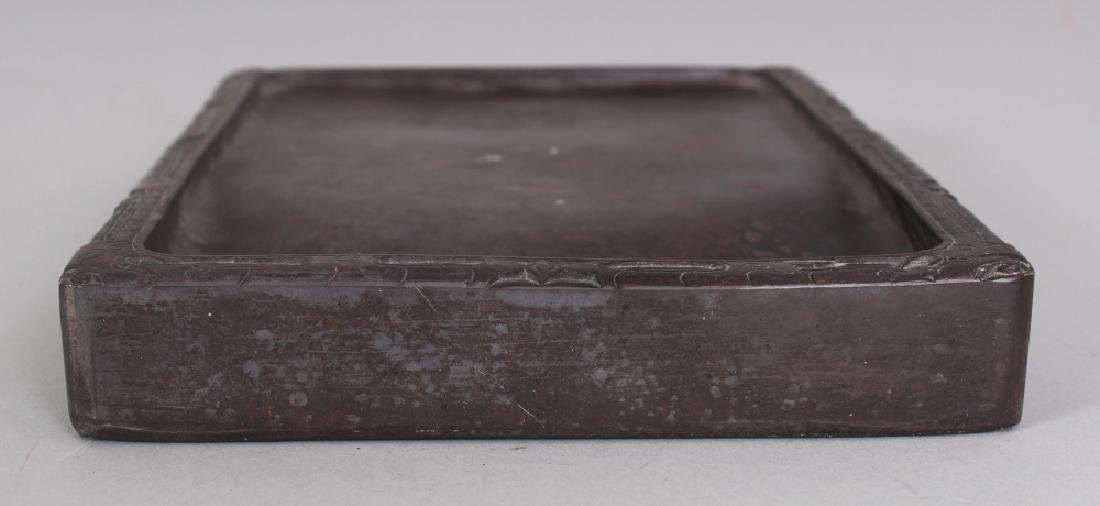 A CHINESE DUAN CARVED INKSTONE, with an archaic border - 2