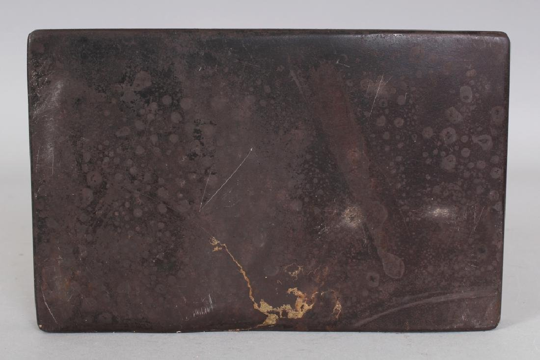 A CHINESE DUAN CARVED INKSTONE, with an archaic border - 4