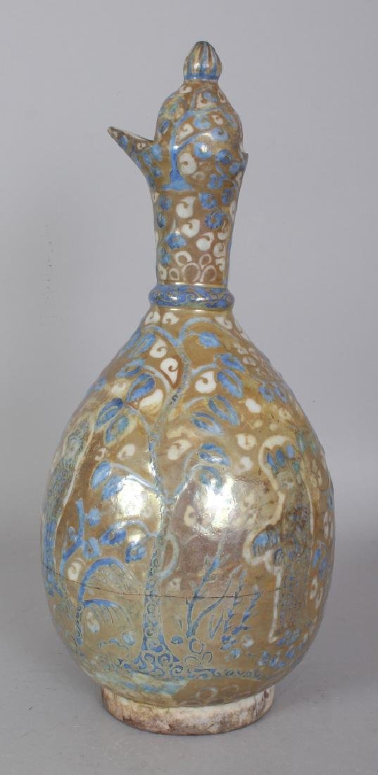 A PERSIAN SAFAVID LUSTRE GLAZED POTTERY EWER, 17th