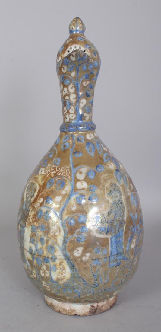 A PERSIAN SAFAVID LUSTRE GLAZED POTTERY EWER, 17th - 2