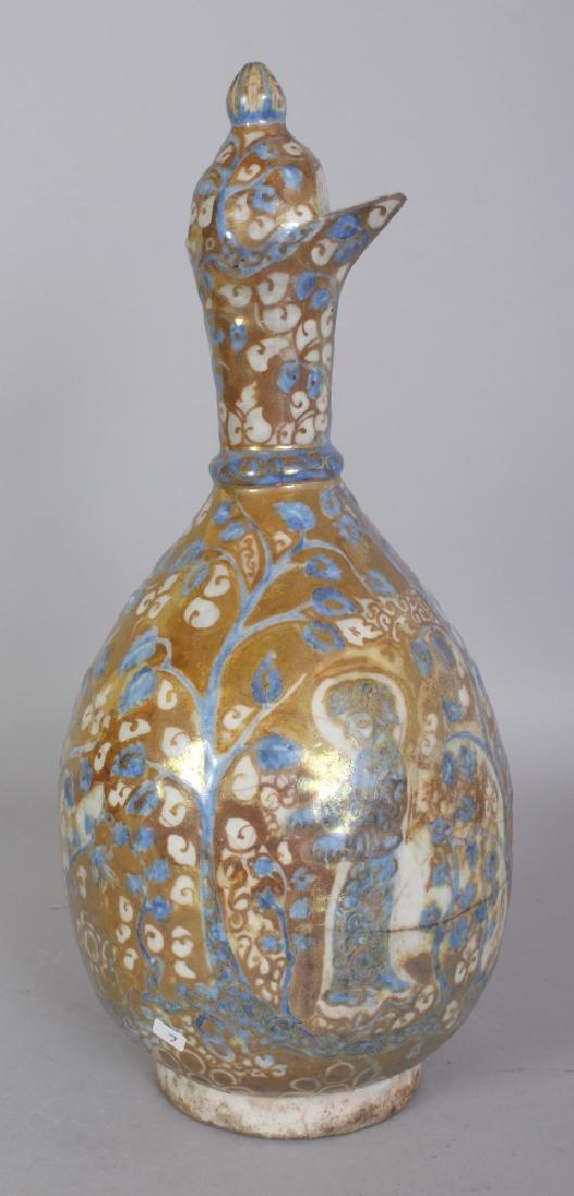 A PERSIAN SAFAVID LUSTRE GLAZED POTTERY EWER, 17th - 3