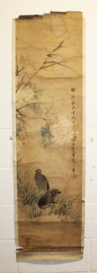 A GROUP OF THREE EARLY CHINESE SCROLL PAINTINGS ON SILK