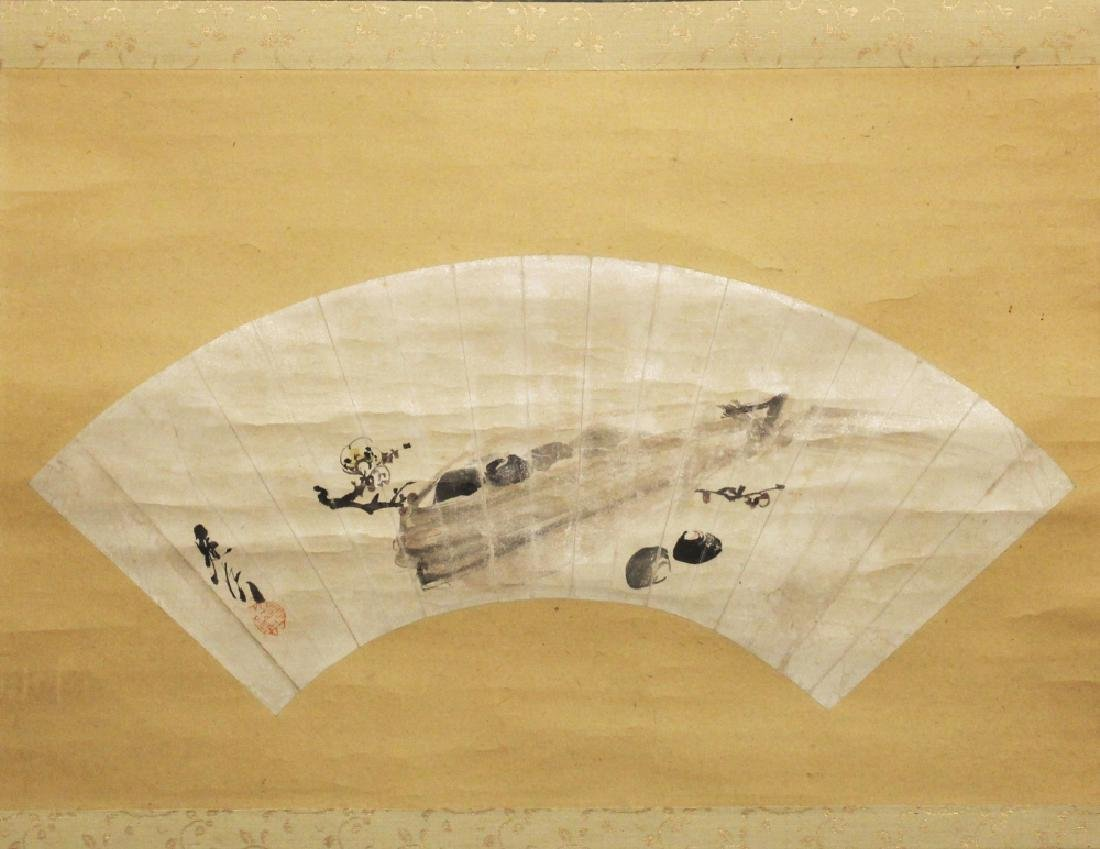A JAPANESE MEIJI PERIOD HANGING SCROLL FAN PAINTING BY