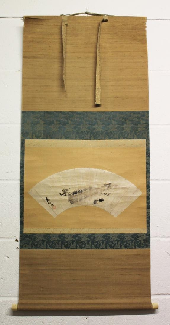 A JAPANESE MEIJI PERIOD HANGING SCROLL FAN PAINTING BY - 2