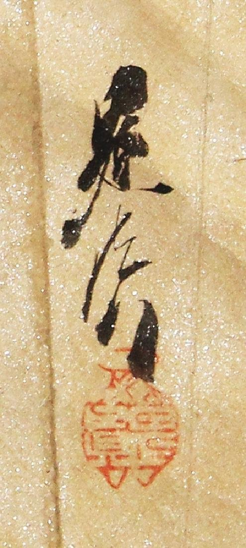 A JAPANESE MEIJI PERIOD HANGING SCROLL FAN PAINTING BY - 3