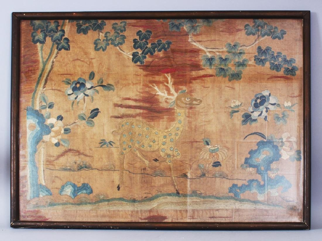 A FRAMED 19TH CENTURY CHINESE ORANGE GROUND SILK