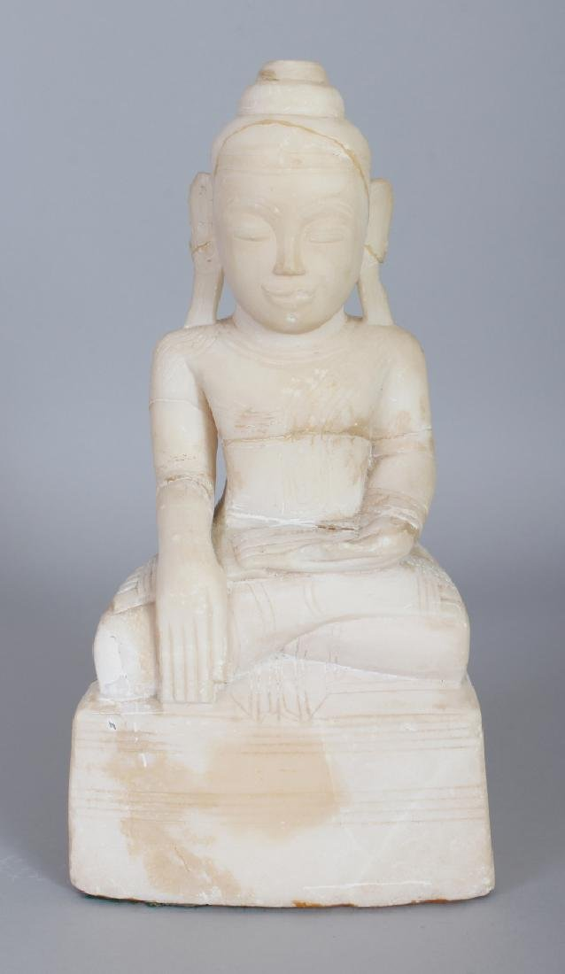 A SOUTH-EAST ASIAN CARVED MARBLE FIGURE OF BUDDHA,