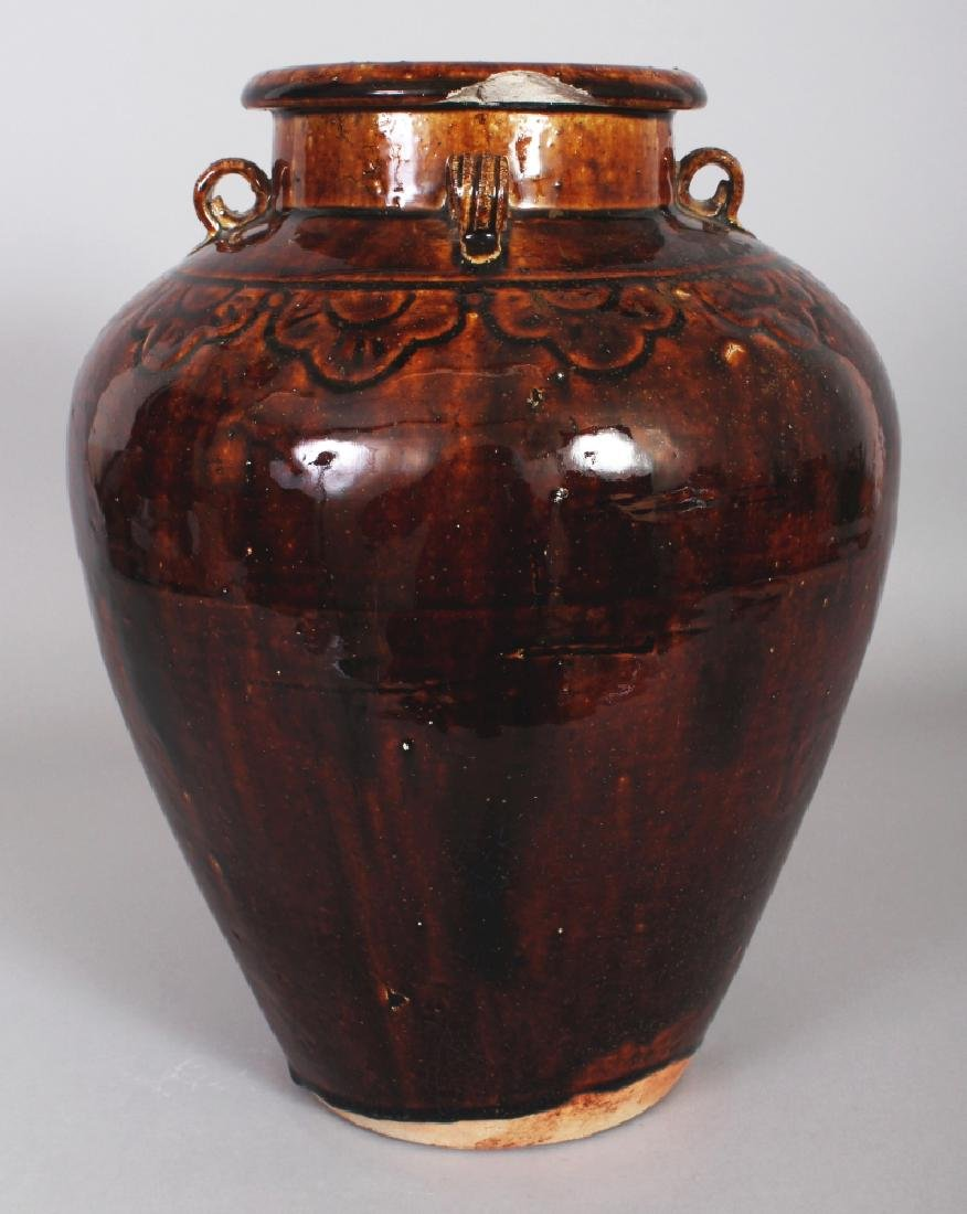 A CHINESE MING DYNASTY MATABAN BROWN GLAZED CERAMIC