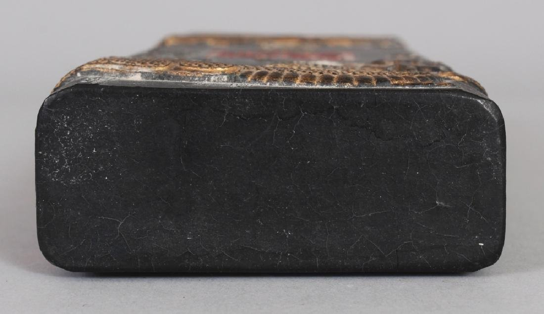 A CHINESE GILT DECORATED & MOULDED RECTANGULAR BLACK - 9