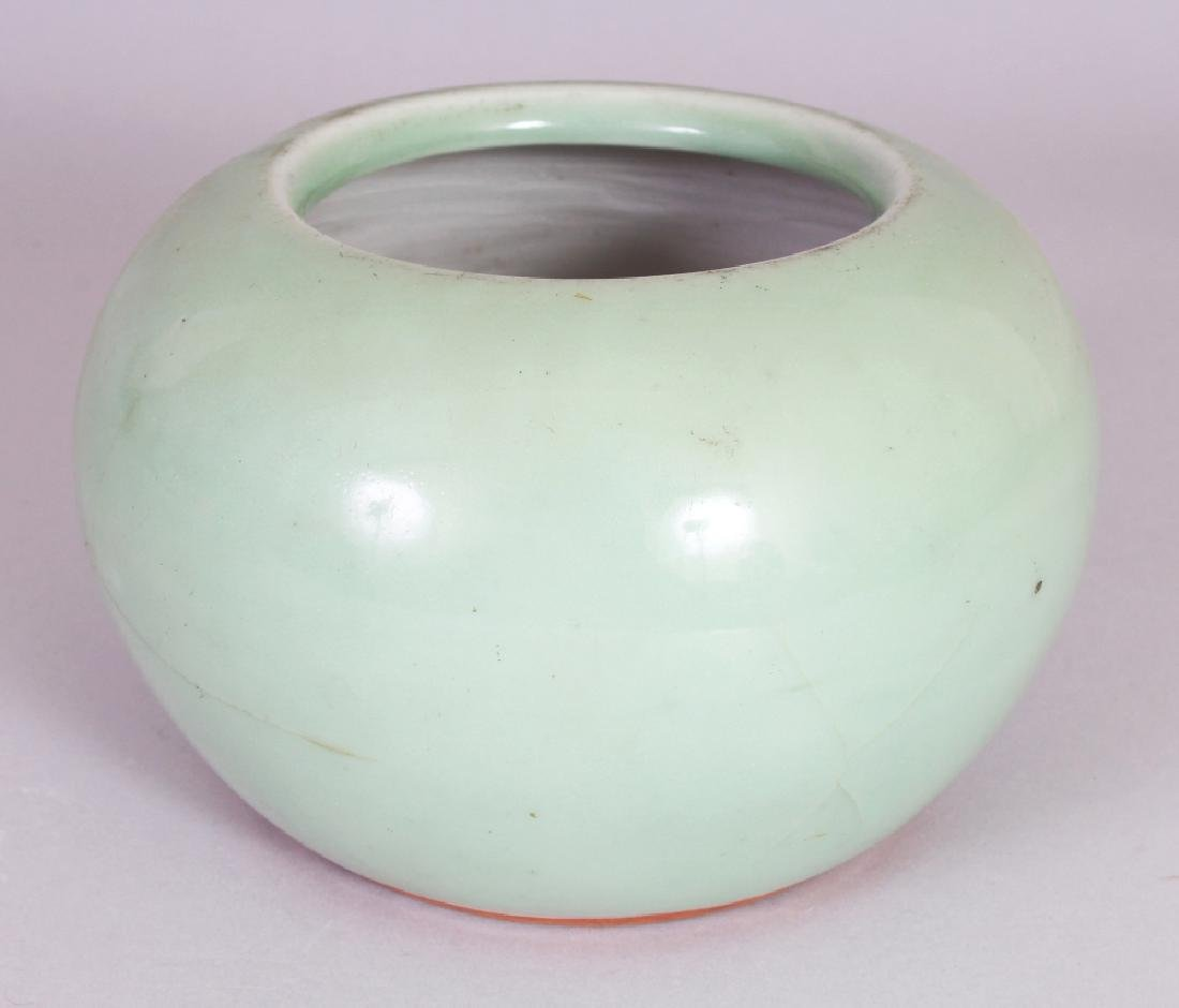 A 19TH CENTURY CHINESE CELADON GLAZED WATER POT, 6.2in