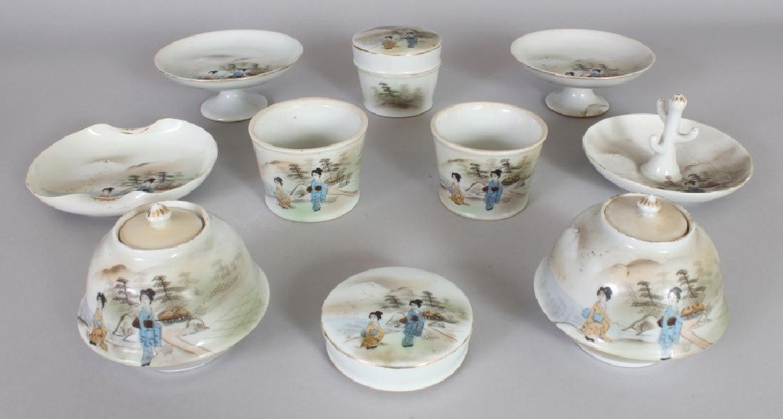 A GROUP OF EARLY 20TH CENTURY JAPANESE ENAMEL DECORATED