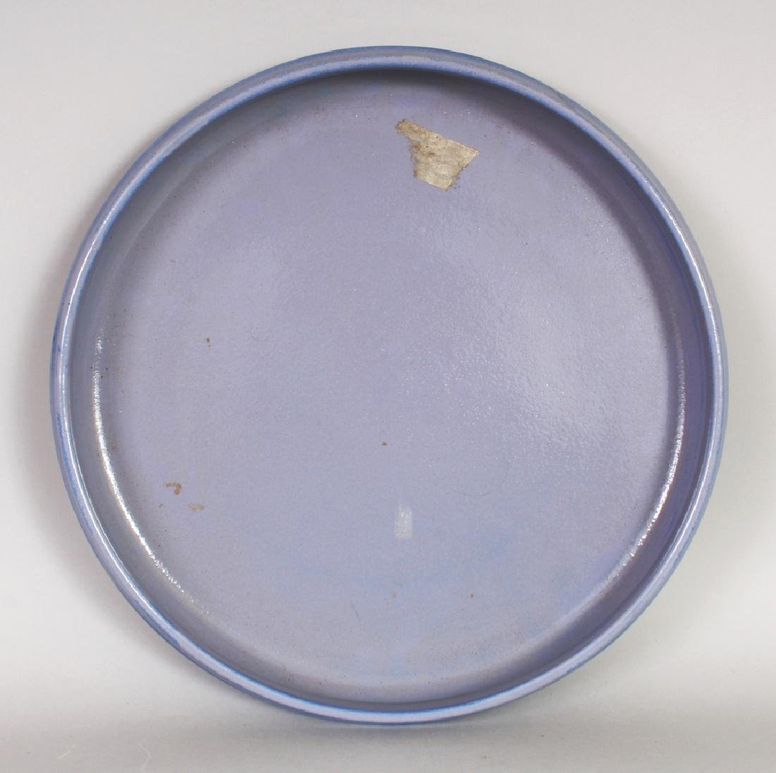AN UNUSUAL 20TH CENTURY CHINESE BLUE GLAZED SHALLOW